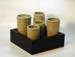 Sake sets in lacquer box